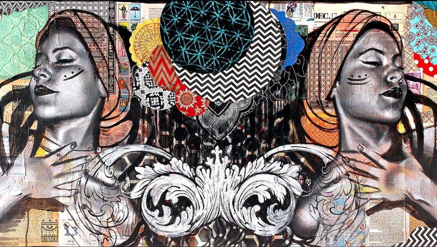 Des visages et un déferlement de couleurs caractérisent les œuvres de Jo Di Bona. Mais les autres aussi sont colorés.