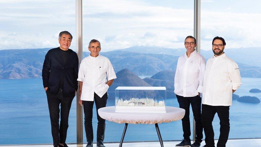 Kengo Kuma, Michel Bras, Sébastien Bras, Simone Cantafio, au restaurant Bras de Toya.