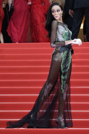 Winnie Harlow a fait tourner les têtes à Cannes, arborant une robe brodée transparente, signée Ralph & Russo. Cannes, le 22 mai 2019.