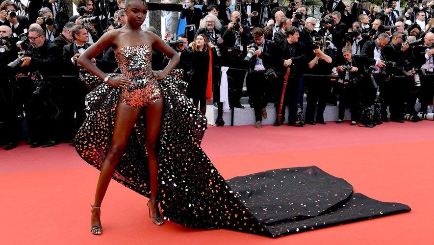 Leomie Anderson en Rami Kadi Couture. Cannes, le 21 mai 2019.