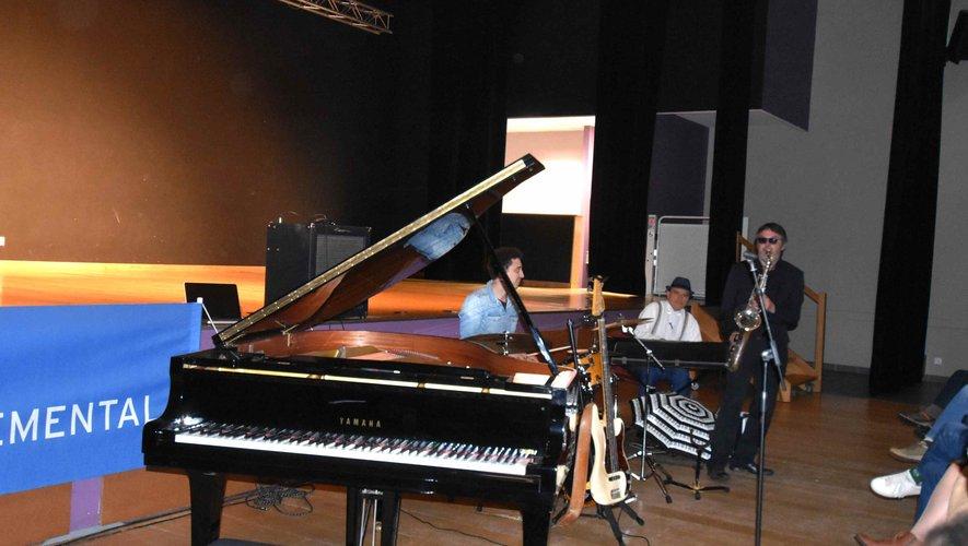 Fabrice Eulry, Thomas Caserus, Lionel Stievenard au concert de clôture du Festival Blues en Aveyron.