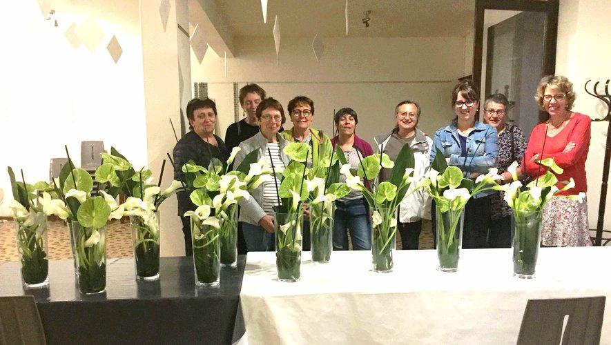 Les participantes du dernier atelier d'initiation à l'art floral de la saison 2018- 2019.