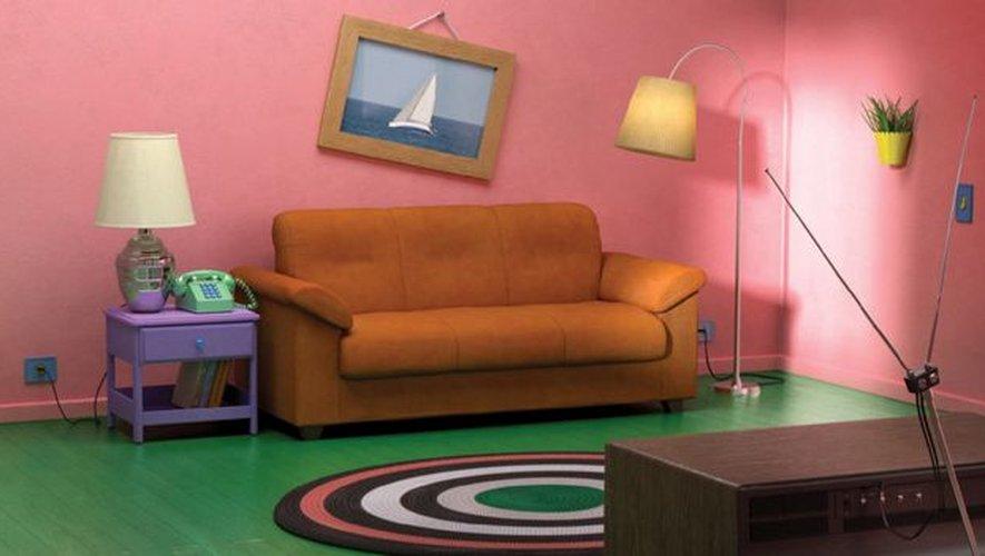 Le séjour des 'Simpson' reproduit avec du mobilier du catalogue IKEA.