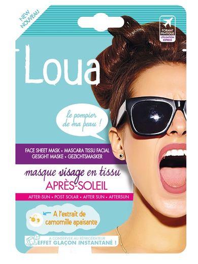Le Masque Visage en Tissu Après-Soleil par Loua - Prix : 3,90€ - Site : https://loua-ld.fr.