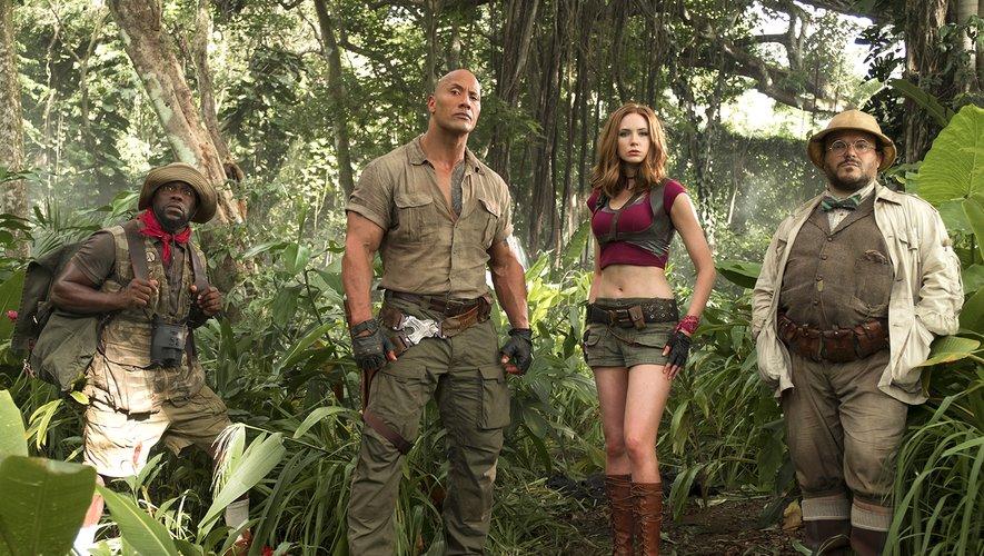 Kevin Hart, Dwayne Johnson, Karen Gillan et Jack Black en 2017 dans le blockbuster 'Jumanji: Bienvenue dans la jungle'. La suite ce ce film sortira en décembre prochain.