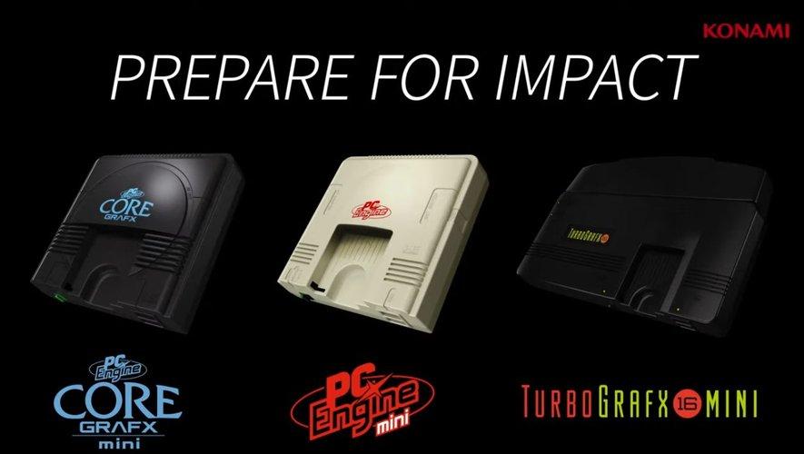 Capture d'écran vidéo d'une bande-annonce des consoles PC Engine Core Grafx Mini, PC Engine Mini, et TurboGrafx-16 Mini côte à côte.