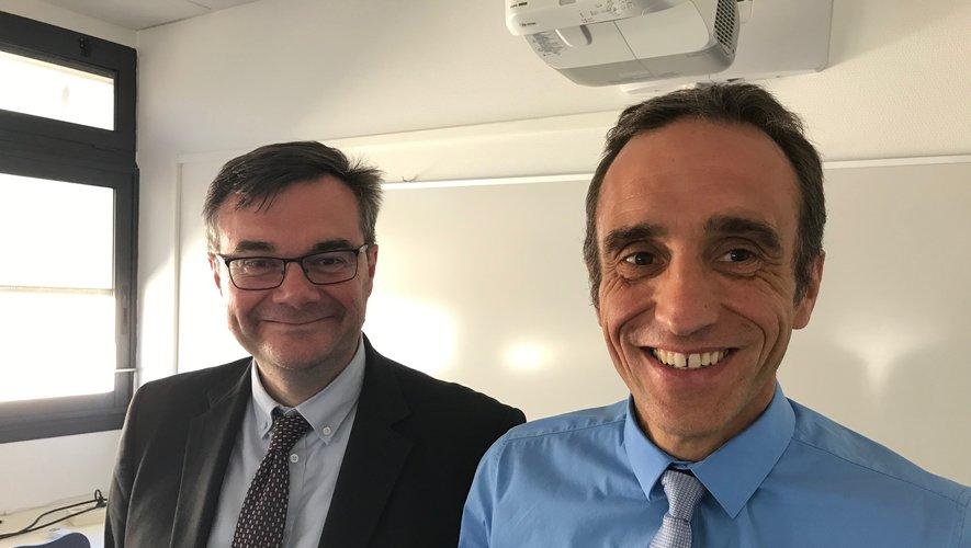 Les députés Rémy Rebeyrotte et Arnaud Viala, ce lundi à Rodez.