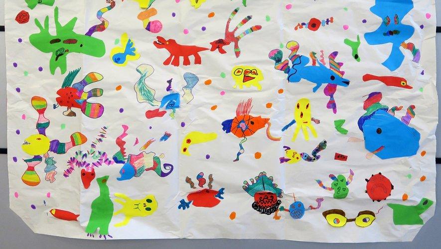 Art brut japonais d'après Makoto Fukui réalisé par les élèves.