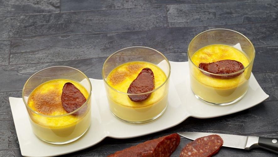 Crèmes brûlées safranées et chorizo tout juste grillé