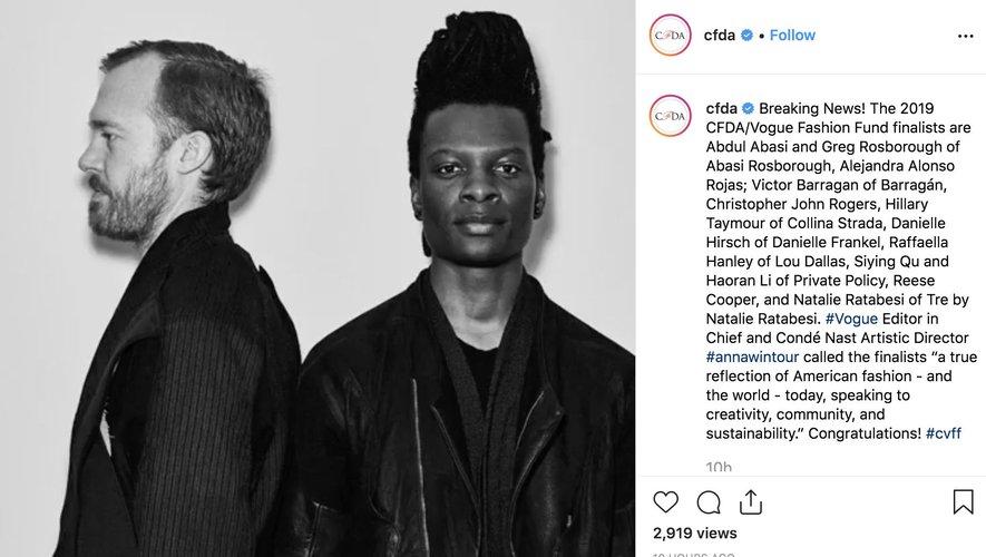 CFDA Instagram 2019
