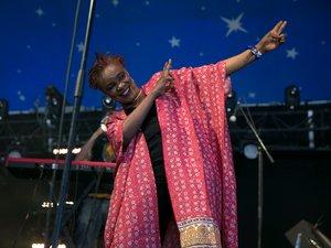 La chanteuse Mamani Keita au Solidays, festival de musique organisé par Solidarité Sida, en 2018.