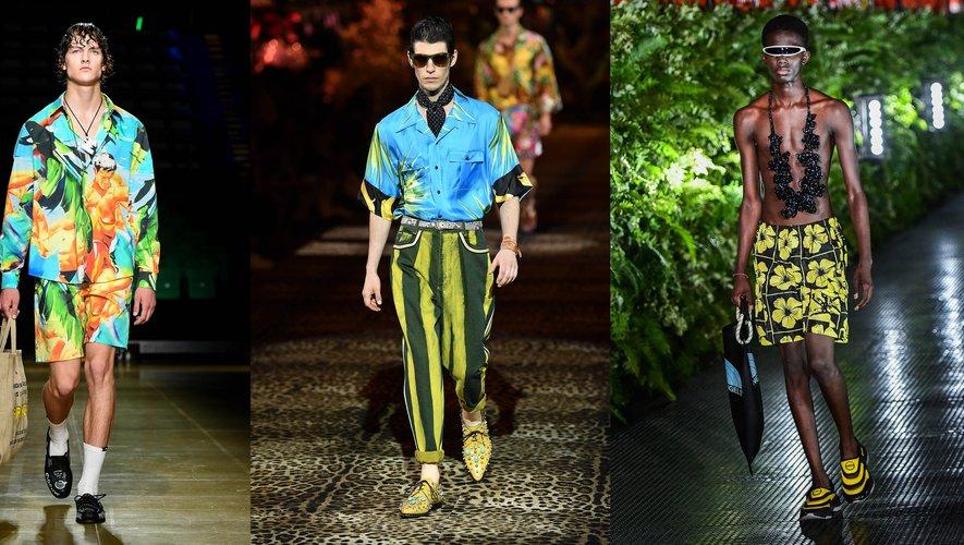 Sous les tropiques par MSGM, Dolce & Gabbana, et Palm Angels.