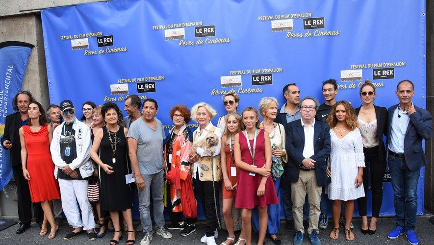 Pascal Galopin avec ses vedettes du festival du film d'Espalion comme Brigitte Fossey qui a joué avec Claude Pinoteau.