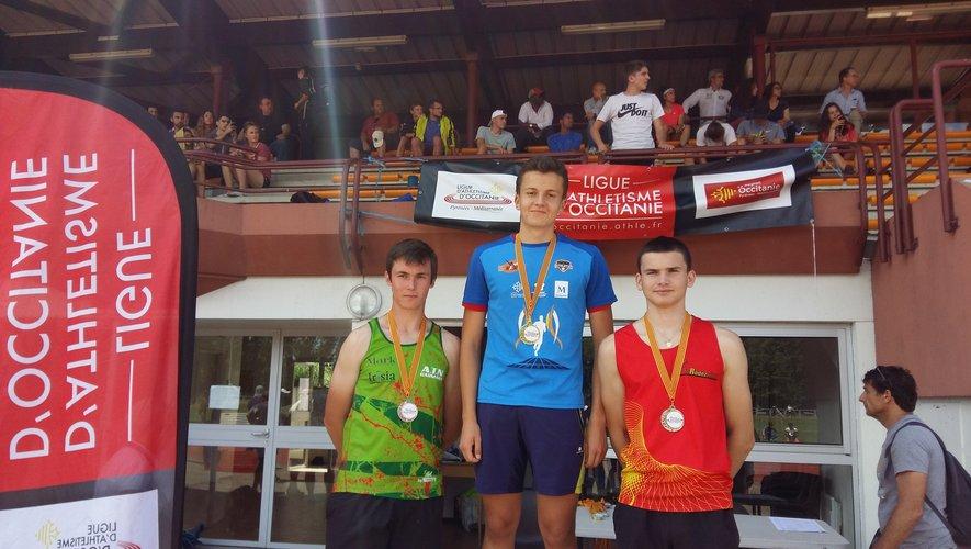 Les cadets également ont brillé :  Pierre Rouan, sur la deuxième marche du podium, a battu le record de l'Aveyron du marteau.
