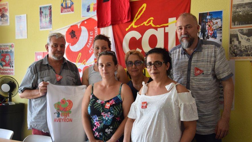 Les représentantes CGT de l'Ehpad, en présence des représentantsde l'union locale CGT, de Rodez.
