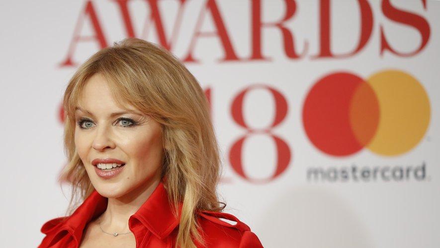 La chanteuse et actrice Kylie Minogue aux BRIT Awards, le 21 février 2018.