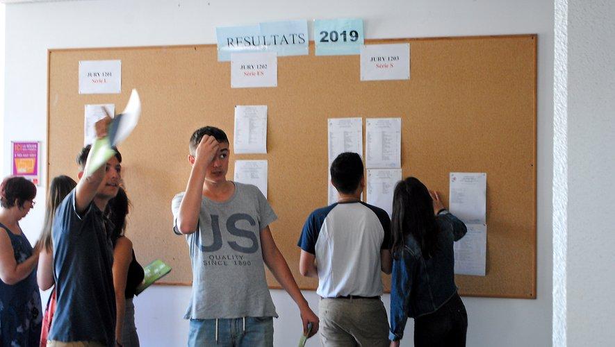 Les lycéens cherchent leurs noms sur le tableau.