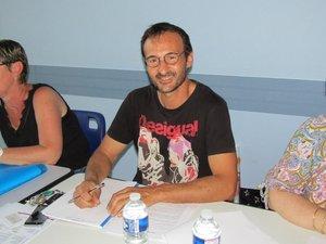 Claire Lazuech, Xavier Blazy et la secrétaire Christine Lavernhe.