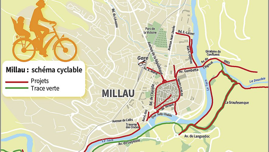La trace verte relie Millau, depuis le rond-point du Confluent, à Saint-Georges-de-Luzençon, en passant par Creissels.