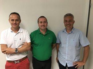 Christophe Storaï, vice-président, Stéphane Floirac, président, et Josian Graux, secrétaire, du Rodez Rugby (RR).