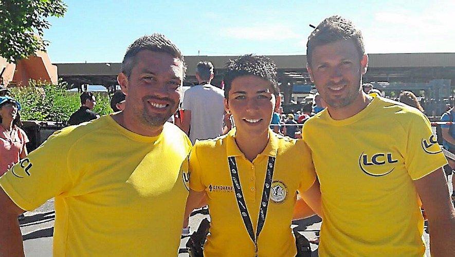 Fabien Druot, Élodie Charrière et Yohan Mouysset, les Aveyronnais de l'étape, s'étaient retrouvés à Laissac en juillet 2017 lors du passage du Tour.
