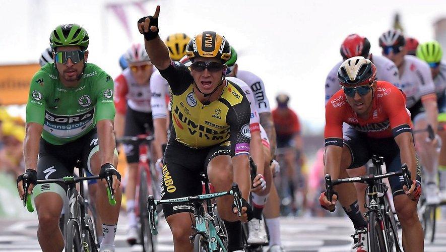 Dylan Groenewegen (Jumbo) vainqueur du sprint lors de la 7e étape, vendredi dernier à Chalon-sur-Saône.