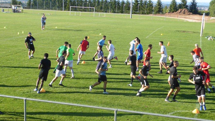 Le groupe de l'équipe fanion lors du dernier entraînement à Luc.