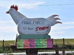 Un rappel humoristique du menu du samedi 17 août de la fête votive où la poule est reine avec son bouillon et son farci.