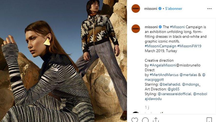 Bella Hadid apparaît dans la campagne automne-hiver 2019 de la maison Missoni.