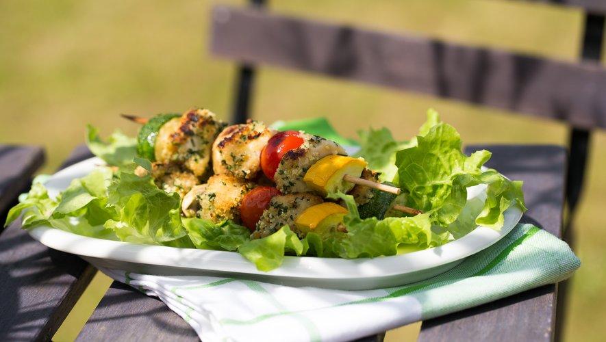 Brochettes de poulet aux petits légumes