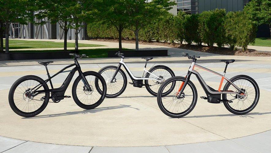 Les prototypes des premières bicyclettes à pédalage assisté de chez Harley-Davidson.