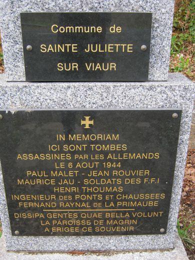 Monument au mort en mémoire du 6 Aout 1944.