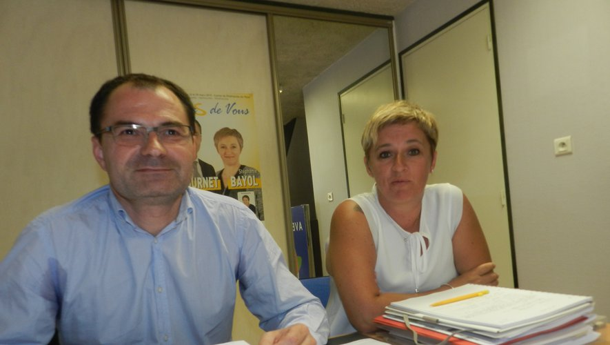 Éric Cantournet et Stéphanie Bayol, les conseillers départementaux du canton de Villefranche-de-Rouergue.