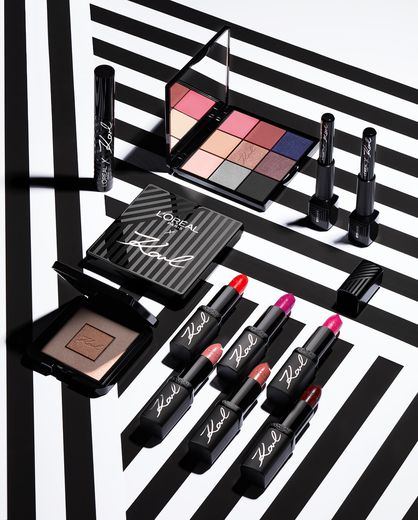 Les essentiels make-up issus de la collaboration entre Karl Lagerfeld et L'Oréal Paris.