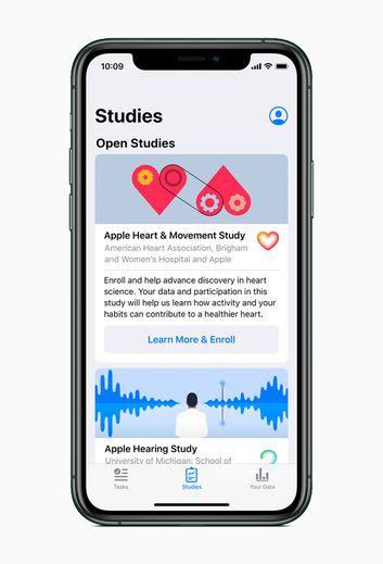 En collaboration avec des établissements médicaux renommés, Apple s'intéresse à l'audition, à la santé des femmes, à la mobilité et à la santé cardiaque.