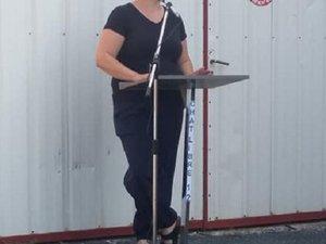 Emeline Blanc lors de son discours d'inauguration.
