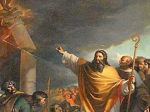 L'évêque saint Amans détruisant l'idole Ruth.Tableau du XIXe siècleà l'église Saint-Amans.