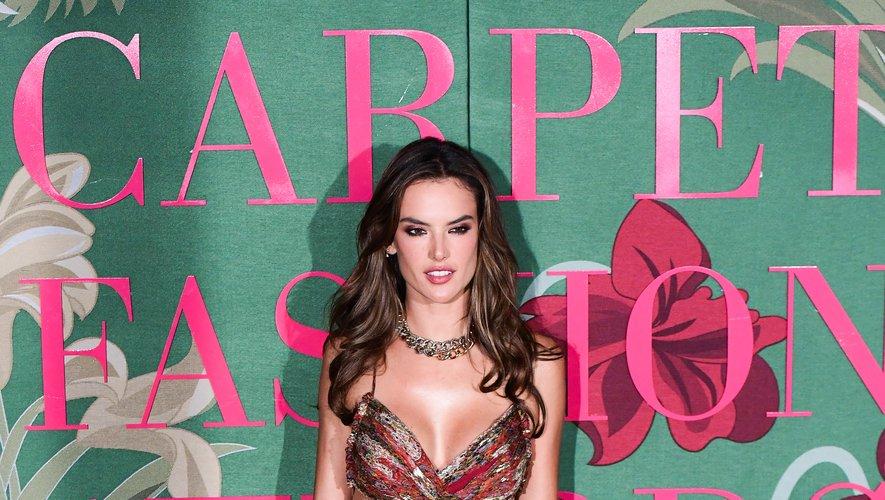 Alessandra Ambrosio était éblouissante dans une robe chiffon maxi aux imprimés marqués, signée Etro. Milan, le 22 septembre 2019.