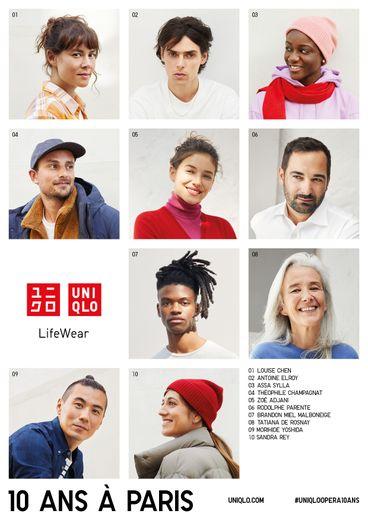 Les dix personnalités qui prêtent leur image au dixième anniversaire de la présence d'Uniqlo à Paris.