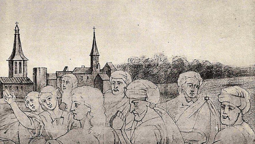 Dessin de l'architecte Henri Pons d'une peinture du XVII siècle montrant l'église Saint-Amans et son clocher avant sa reconstruction au XVIII siècle