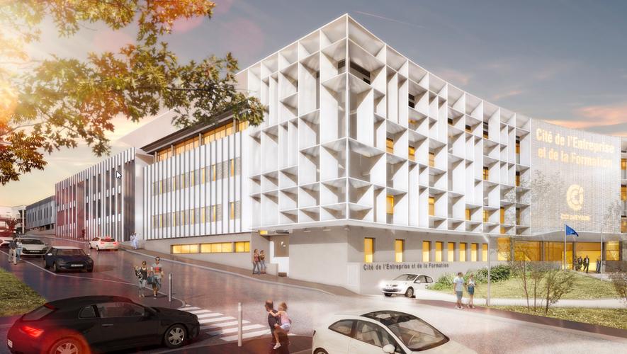 Une approche virtuelle de l'architecte Cédric Lacombe, du projet de la Cité de l'entreprise et de la formation de la CCI à Rodez-Bourran.