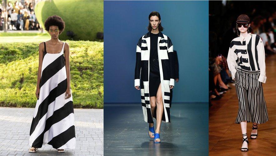 Rayures black & white, par House of Holland, Hugo Boss, et Stella McCartney.
