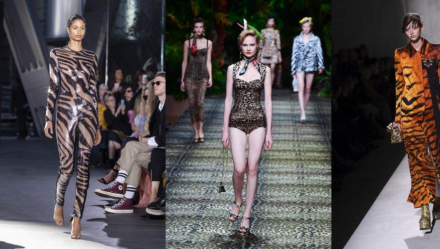 Motifs animaliers, par David Koma, Dolce & Gabbana, et Dries Van Noten.