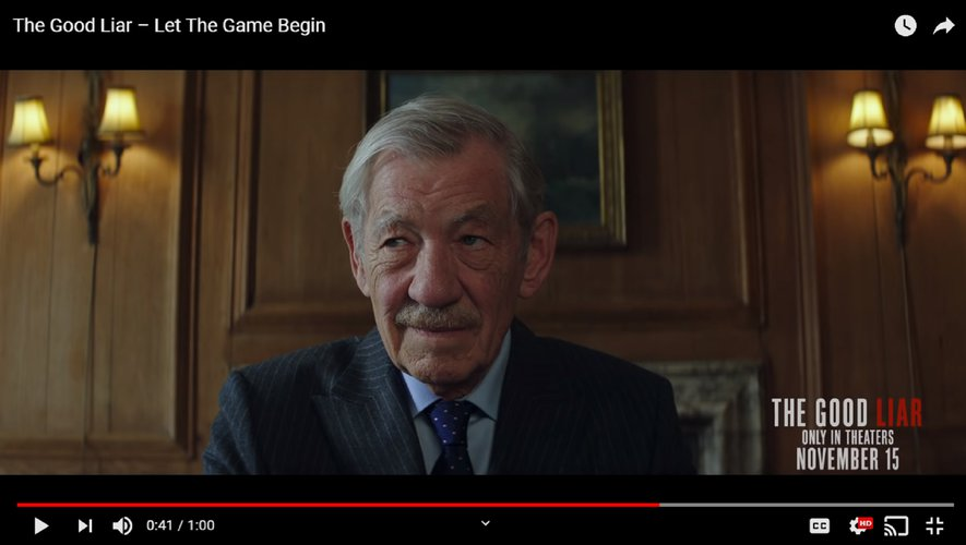 "Ian McKellen joue Roy Courtnay, un escroc professionnel dans ""L'Art du mensonge"" de Bill Condon."