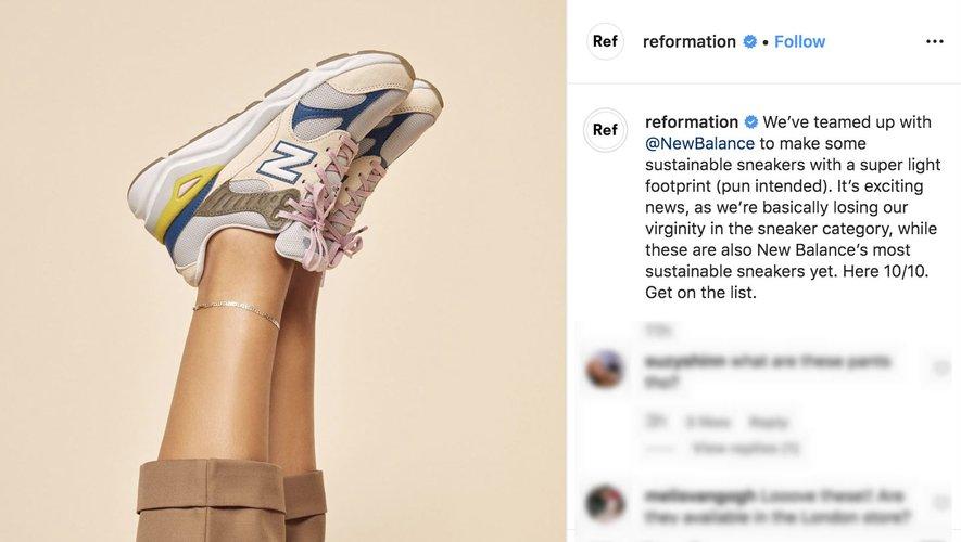 New Balance s'est associé à Reformation, une marque spécialisée dans les tenues et accessoires responsables, pour concevoir une gamme de baskets respectueuses de l'environnement