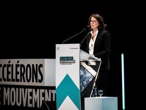 La ministre française de la Solidarité et de la Santé Agnès Buzyn, le 9 octobre 2019 à Lyon, dans le cadre de la sixième Conférence de reconstitution des ressources du Fonds mondial.