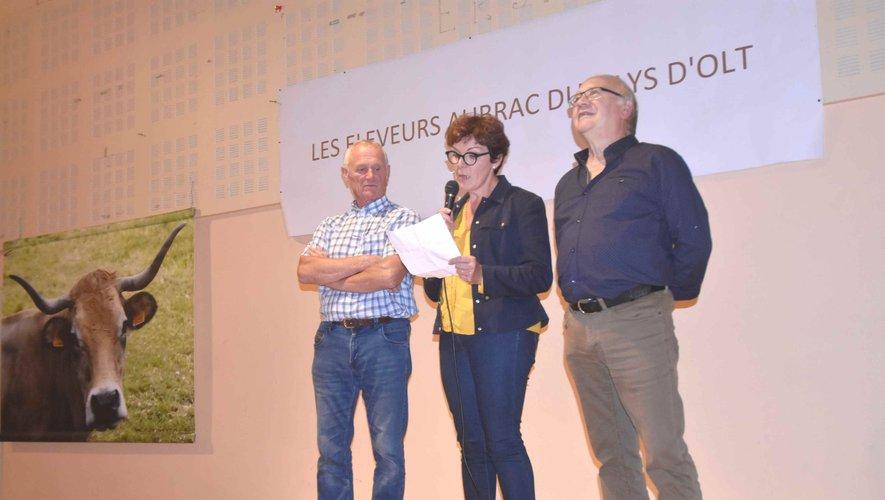 les copresidents Chantal Serres et Jean-François Petit et le Maire Roger Auguy