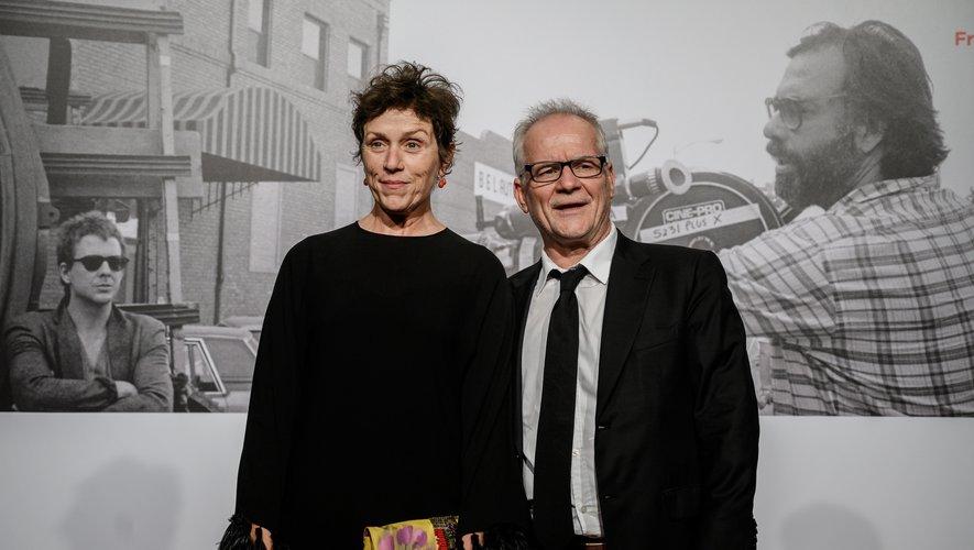 L'actrice américaine Frances McDormand a donné samedi soir à Lyon le coup d'envoi du 11ème festival Lumière (ici aux côtés de Thierry Fremaux, directeur de l'Institut Lumière)