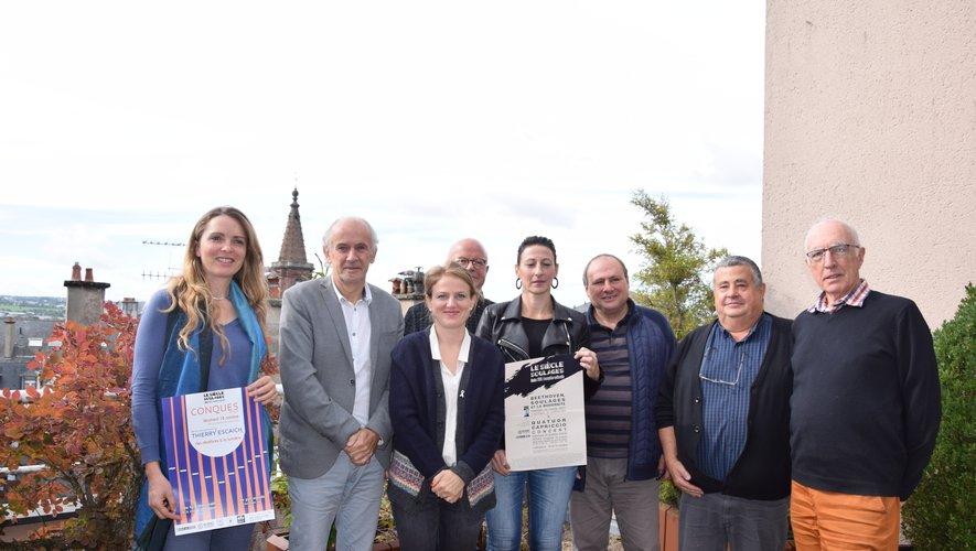 Élus du piton et partenaires de Conques et Espalion réunis pour fêter le siècle Soulages.