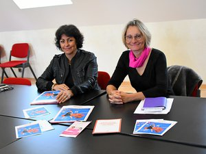 Isabelle Ravoux-Elie et  Marie Rouget préparent la venue de la comédienne Mary-Tahra.
